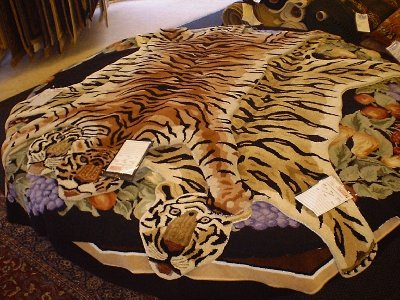 Tiger Shaped Wool Area Rug